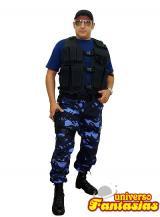 fantasia de Policial Camuflado Azul