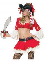 fantasia de Pirata  Feminina Vermelha