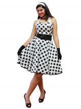 fantasia de Vestido de Bolinhas Pretas  Anos 60