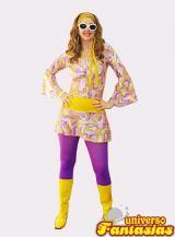 fantasia de Anos 70 de calça roxa e faixa amarela